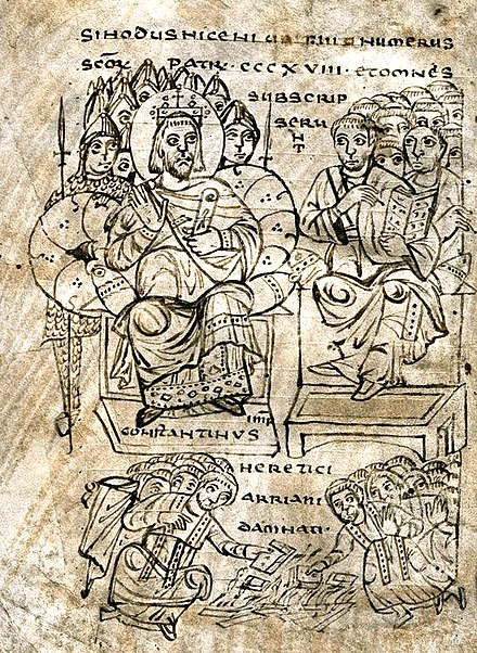 Constantine burning Arian books, from a 9th-century manuscript Constantine burning Arian books.jpg