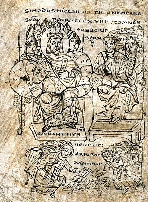 Constantine burning Arian books, illustration from a compendium of canon law, c. 825. Constantine burning Arian books.jpg