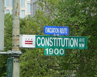 Constitution Avenue - Signage on the 1900 block of Constitution Avenue NW