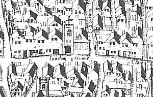 "London Stone - London Stone and St Swithin's Church as shown on the ""Copperplate"" map of c.1553–59"