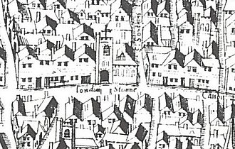 """London Stone - London Stone and St Swithin's Church as shown on the """"Copperplate"""" map of c.1553–59"""