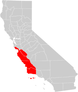 Counties located within the Central Coast