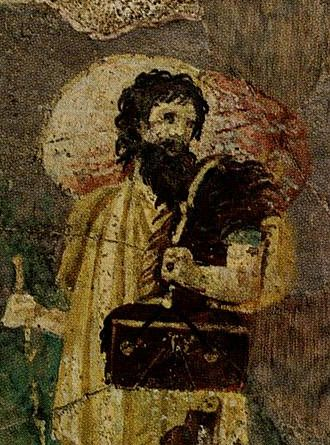 Crates of Thebes - Crates of Thebes. Detail from a Roman wall painting in the Villa Farnesina in Rome