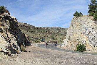 Dinosaur Ridge - Cretaceous period sandstone layer at the top of Dinosaur Ridge, Morrison Fossil Area National Natural Landmark, Colorado.
