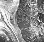 Crillon Glacier, valley glacier divide of north and south Crillon Glacier, September 16, 1966 (GLACIERS 5329).jpg