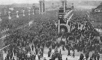 Crown prince - Throngs before the Imperial Palace in Japan awaiting the appearance of Crown Prince Hirohito for the recent proclamation of his official recognition as the heir apparent to the Japanese Imperial Throne -- New York Times, 1916.