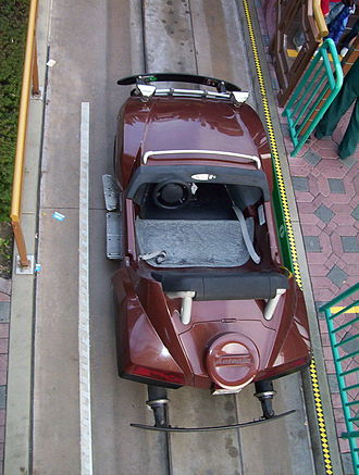 Autopia - An overhead view, looking down at an Autopia car in 2003.