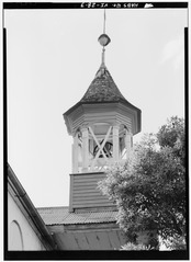 DETAIL OF BELL TOWER - Moravian Church, King Street vicinity, Christiansted, St. Croix, VI HABS VI,1-CHRIS,52-3.tif