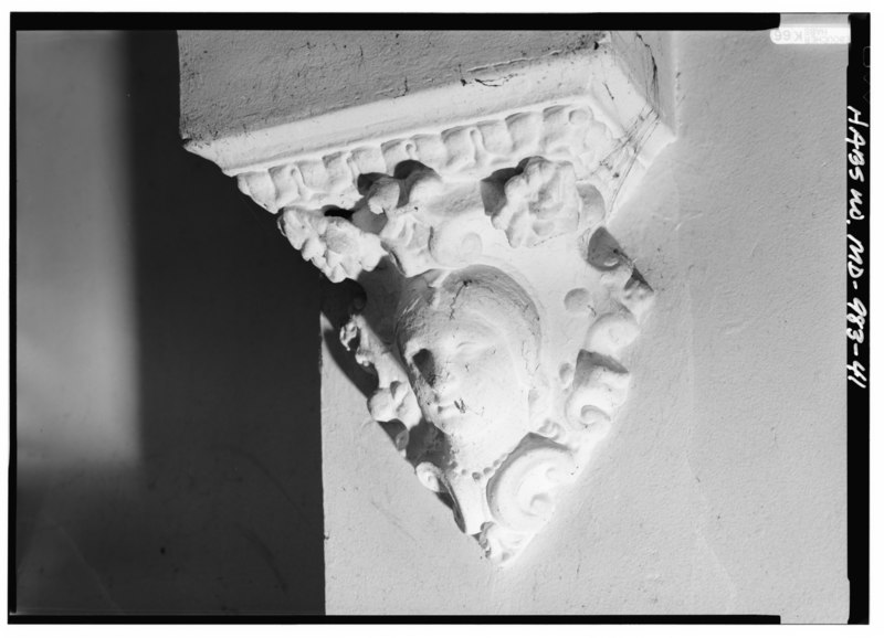 File detail view of plaster cast head of ornamental for One story queen anne