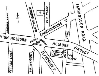 Holborn Circus - Roads meeting at Holborn Circus (1888 sketch plan)