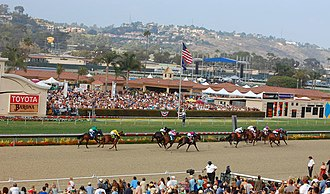 Del Mar racetrack - Horses crossing the finish line at the Del Mar Racetrack