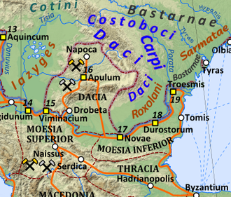 Bastarnae - Map showing Roman Dacia and surrounding peoples in AD 125