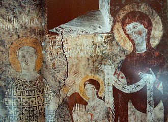 Artsakh (historic province) - Fragment of a fresco with Armenian inscribed text in Dadivank Monastery, shows a masterpiece of medieval culture of Artsakh.