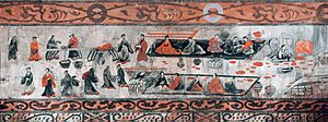 Emperor Ling of Han - Image: Dahuting tomb banquet scene, Eastern Han mural