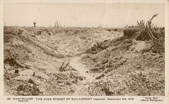 5th Battalion, South Lancashire Regiment - The High Street of Guillemont in September 1916.