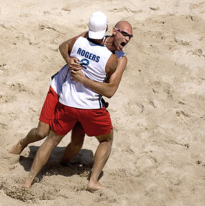 Beach volleyball at the Summer Olympics - Dalhausser and Rogers celebrate their gold medal win in 2008.