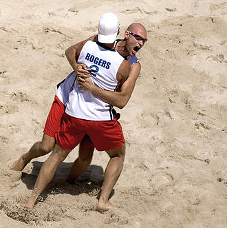 Beach volleyball at the 2008 Summer Olympics – Men's tournament - Dalhausser and Rogers celebrate their gold medal win.