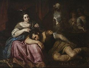 Dalila cortando el pelo a Sansón