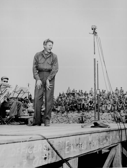 Danny Kaye on USO tour at Sasebo, Japan, October 25, 1945. Kaye and his friend, Dodgers manager Leo Durocher, made the trip. Danny Kaye ww2 45.jpg
