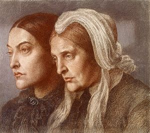 Frances Polidori - Portrait of Christina Rossetti and Frances Polidori Rossetti, drawn by Dante Gabriel Rossetti