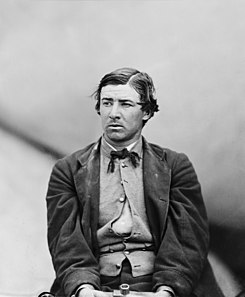 David E. Herold, one of the conspirators in the assassination of Abraham Lincoln, photographed in the Washington Navy Yards, Washington D.C., after his arrest.