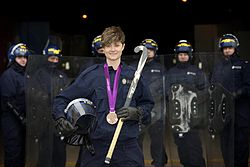 Day 52 - Olympian put through paces at police public order training (8493907409).jpg