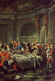 Jean François de Troy's 1735 painting Le Déjeuner d'Huîtres (Luncheon with Oysters) is the first known depiction of champagne in painting.