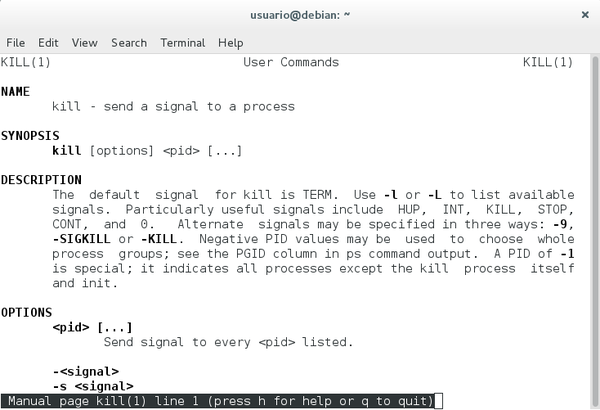 man kill terminal Debian