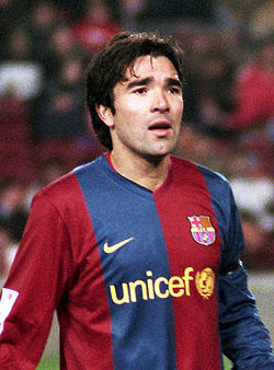 Deco, an association football player, wearing FC Barcelona's jersey.