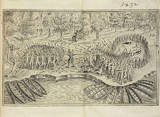 Timeline of Montreal history - 1609 scene, including self-portrait, reprinted from Deffaite des Yroquois au Lac de Champlain (Defeat of the Iroquois of Lake Champlain), drawn by Samuel de Champlain (1613)