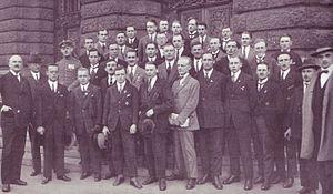 """Stoßtrupp-Hitler - The defendants in the trial against 40 members of the """"Stosstrupp Adolf Hitler""""."""