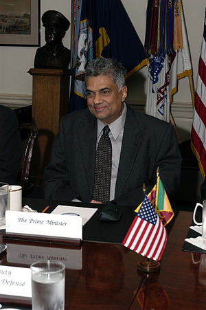 Ranil Wickremesinghe -  Prime Minister Ranil Wickremesinghe of Sri Lanka meets with Deputy Secretary of Defense Paul Wolfowitz in The Pentagon on 3 November 2003. The leaders are meeting to discuss defense issues of mutual interest.