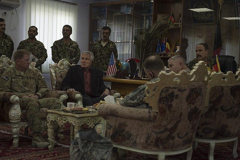 File:Defense Chuck Hagel listens to Afghan Army Maj Gen. Mohammad Zaman.jpg