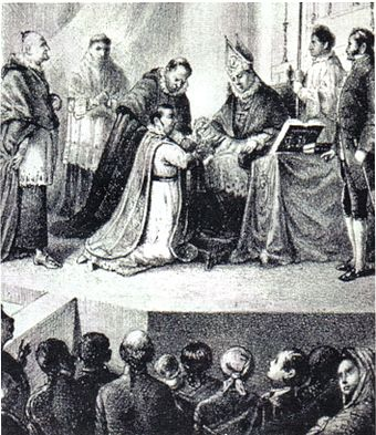Contemporary engraving depicting the defrocking and degradation of Morelos by church officials before released to civil authorities for execution Degradacion Morelos.jpg
