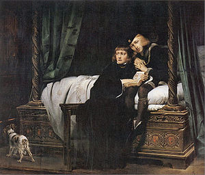 Edward V of England - King Edward V and the Duke of York in the Tower of London by Paul Delaroche. The theme of innocent children awaiting an uncertain fate was a popular one amongst 19th-century painters.