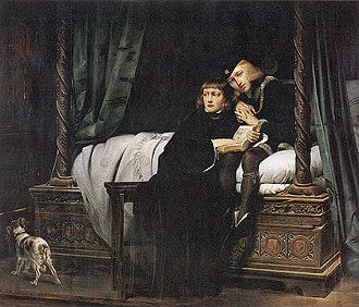 Princes in the Tower - King Edward V and the Duke of York in the Tower of London by Paul Delaroche. The theme of innocent children awaiting an uncertain fate was popular amongst 19th-century painters.
