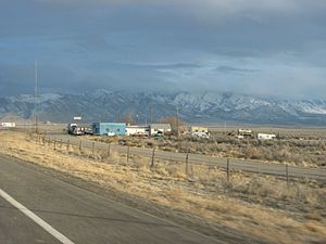Delle, Utah - The few buildings at Delle, as viewed from eastbound I-80 off ramp, February 2008