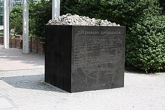 White Rose - A black granite memorial to the White Rose Movement in the Hofgarten in Munich.
