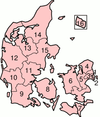 Counties of Denmark - Map of Denmark showing the former counties