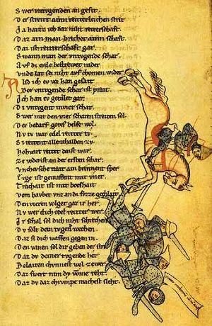 Thomasin von Zirclaere - Page from Der wälsche Gast, Heidelberg manuscript, mid 12th century