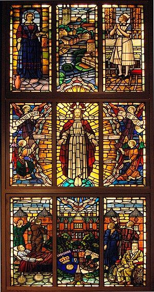 London Road Community Hospital - Image: Derby DRI stained glass window at St Peters squared