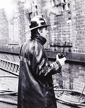 Detroit Fire Department - A DFD Captain overseeing a fire in 1978.