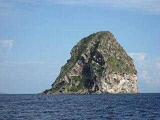 Diamond Rock island in Martinique, France