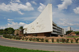 "Hatfield, Pretoria - University of Pretoria's Administration building (""Die skip"") on its Hatfield campus"