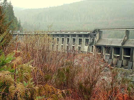 Outside the city limits, on the southeast corner of Vancouver Island is the Jordan River Dam. The dam is the main hydroelectric power station for the Island, including Victoria. Diversion Dam near Jordan River - panoramio.jpg