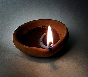 A diya - Indian oil lamp.