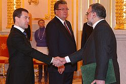 Dmitry Medvedev with Seyed Mahmoud Reza Sajadi.jpg
