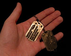 Dog tags of a World War II U.S. Army soldier. ...