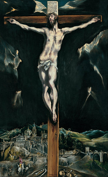 File:Domenikos Theotokopoulos, El Greco - Christ crucified with Toledo in the Background - Google Art Project.jpg