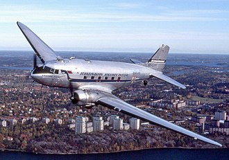 Regional airliner - The Douglas DC-3 first flew in 1935 and had a range of around 1,000 miles (1,625 kilometers.)